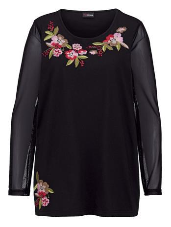 Kukkakirjailtu paita MIAMODA musta52338/70X
