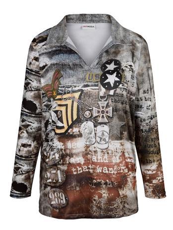 Painokuvioitu paita MIAMODA harmaa/ruskea53158/80X