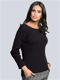 Sivuhalkiollinen neulepusero Alba Moda Musta54836/80X
