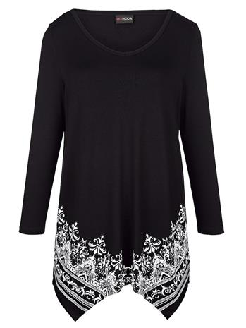 Näyttävähelmainen paita MIAMODA musta/valkoinen68384/30X