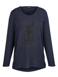 Kissakuvioinen neulepusero MIAMODA Laivastonsininen50488/20X, Naisten paidat, puserot, topit, neuleet ja jakut