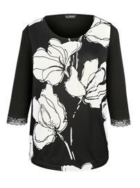 Kukkakuvioitu paita m. collection musta/valkoinen71952/20X, Naisten paidat, puserot, topit, neuleet ja jakut