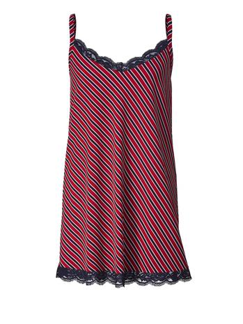 Pitsisomistettu raitatoppi Sara Lindholm punainen/laivastonsininen/monivärinen75650/80X, Naisten paidat, puserot, topit, neuleet ja jakut