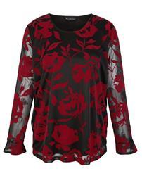 Kukkakuvioinen paita m. collection musta/punainen80835/80X