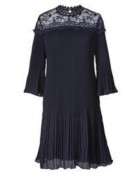 Pitsisomisteinen pliseerattu mekko Sara Lindholm laivastonsininen84420/50X