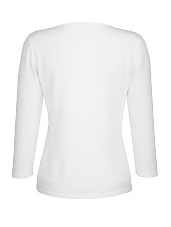 Applikoitu neulepusero Alba Moda Valkoinen83844/70X