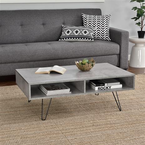 [en.casa]® Moderni sohvapöytä - MDF-levy - metallirunko - betoni-vaikutus - 100 x 60 x 35 cm