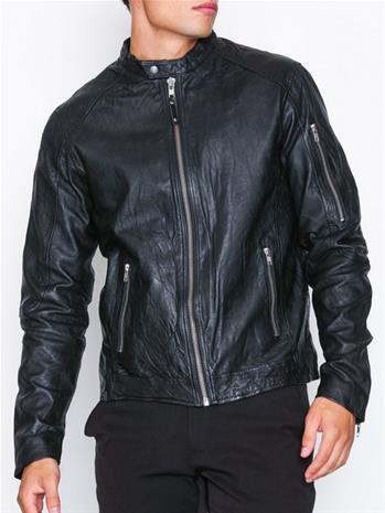 Premium by Jack & Jones Jprrichard Clean Leather Jacket Sts Takit Musta