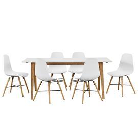 [en.casa]® Bambu ruokapöytä + 6 design tuolia - valkoinen