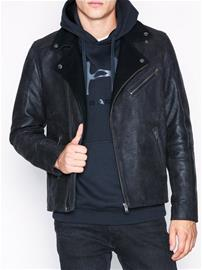 Selected Homme Slhray Leather/Wool Biker Jkt W Takit Musta