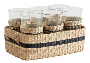 Korg med 6 glas 9x25 cm - Natur, Baskets