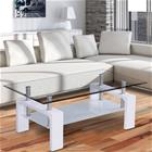 [en.casa]® Moderni sohvapöytä - Olohuone - lasipöytä - 100 x 50 x 58 cm - valkoinen