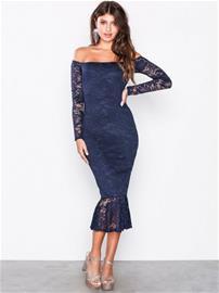 Missguided Lace Bardot Fishtail Midi Dress Kotelomekot Navy