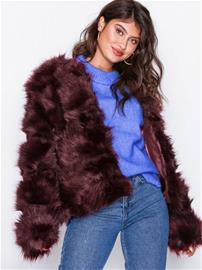 New Look Pelted Faux Fur Coat Tekoturkit Wine