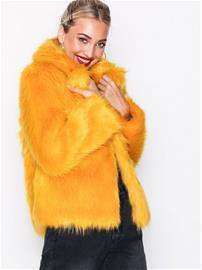 Topshop Faux Fur Coat Tekoturkit Mustard