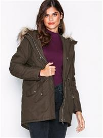 New Look Faux Fur Trim Hooded Parka Parkatakit Khaki