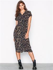 New Look Animal Print Midi Shirt Dress Maksimekot Brown