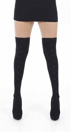 Pamela Mann Over The Knee Socks With Gold Studs Polvisukat musta