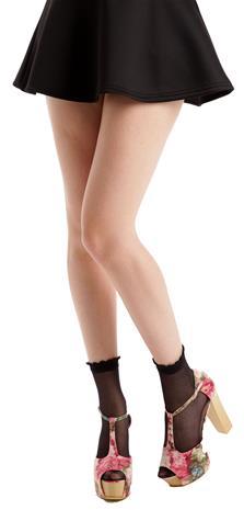 Pamela Mann Sheer Ankle Sock With Frill Sukat musta