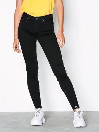 Selected Femme Slfida Mw Skinny Black Jeans W Noo Slim Musta