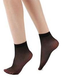 Pamela Mann All Over Sheer Spot Ankle Socks Sukat musta