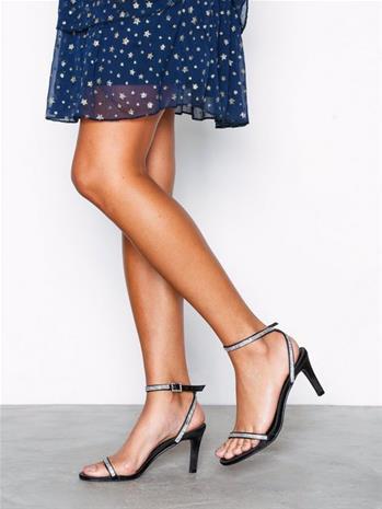 NLY Shoes Simple Tie Heel Sandal High Heel Musta