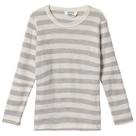 Raidallinen Pitkähihainen T-paita Harmaa130 cm (7-8 v)