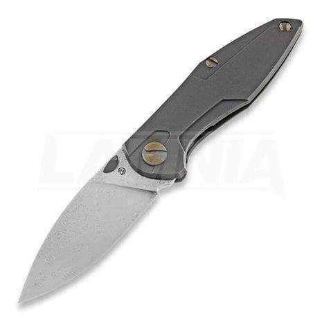 Cheburkov Knives Tukan Damascus kääntöveitsi, bronze titanium