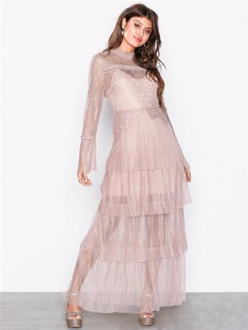 True Decadence Long Sleeve Frill Maxi Dress Maksimekot Light Pink