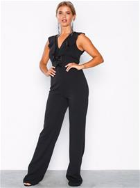 NLY Eve V-Neck Frill Jumpsuit Jumpsuits Musta