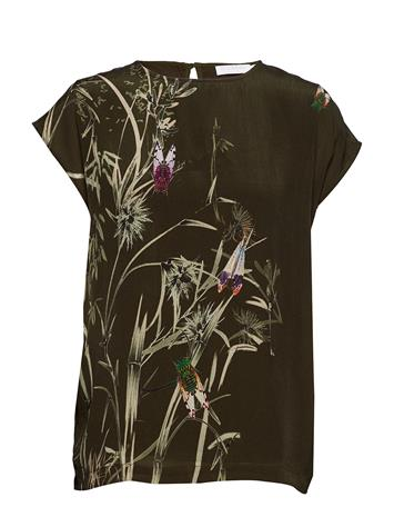 Coster Copenhagen Top W. Autumn Fly Print HUNTER GREEN