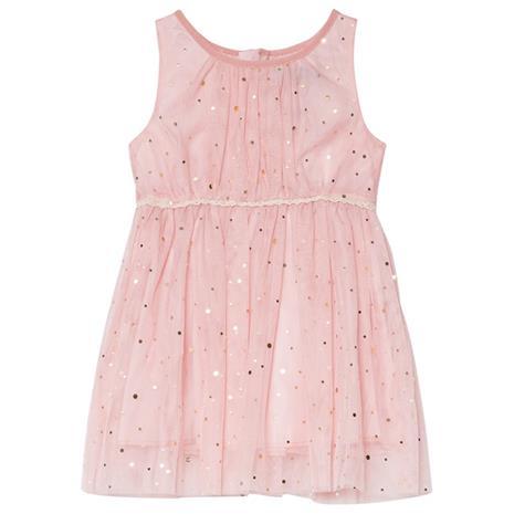 Pink Sleeveless Babydress With Golden Dots74 cm (6-9 kk)