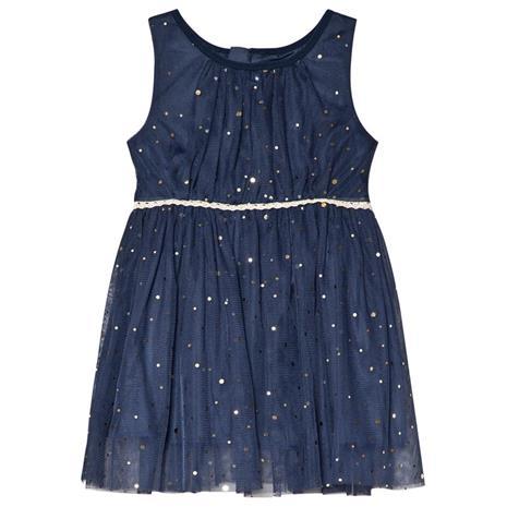 Navy Sleeveless Babydress With Golden Dots74 cm (6-9 kk)