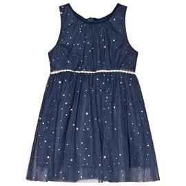 Navy Sleeveless Dress With Golden Dots98 cm (2-3 v)