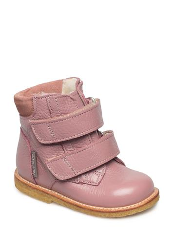 ANGULUS Boots - Flat - With Velcro 2560/2194 L.PLUM/POWDER