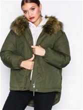 Only onlRIKKE Oversized Nylon Jacket Otw Parkatakit Tummanvihreä