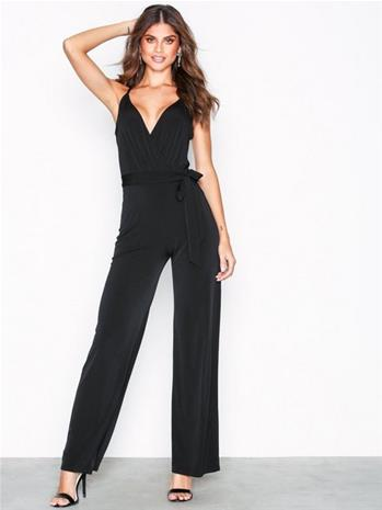 NLY One Flounce Tie Jumpsuit Jumpsuits Musta