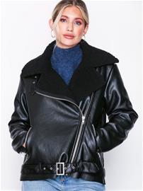 Glamorous Faux Fur PU Jacket Bombertakit Black