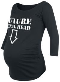 """ä""""itiysmuoti Future Metal Head Naisten pitkähihainen paita musta"""