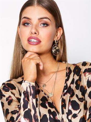 NLY Accessories Hammered Drop Earrings Korvakorut Kulta