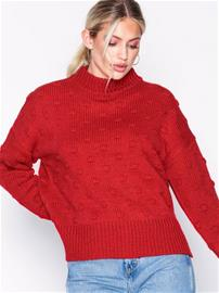 Pieces Pcfay Ls Wool Knit Bf Neuleet Tummanpunainen