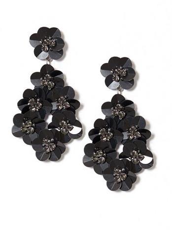 NLY Accessories Sequin Flower Earrings Korvakorut Musta