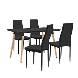 [en.casa]® Design ruokailuryhmä - pöytä + 4 tekonahkaa tuolia - musta
