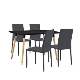 [en.casa]® Design ruokailupöytä - 120 x 70 cm + 4 tekonahkaa tuolia - harmaa