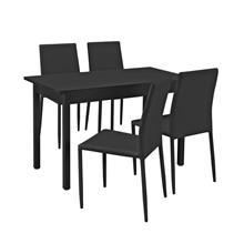 [en.casa]® Moderni ruokailuryhmä - (120 x 60 cm) pöytä + 4 tekonahkaa tuolia - musta