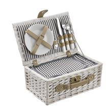 [casa.pro]® Piknik-kori tavaroineen - valkoinen - 38 x 25 x 16 cm