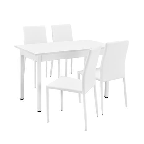 [en.casa]® Moderni ruokailuryhmä - (120 x 60 cm) pöytä + 4 tekonahkaa tuolia - valkoinen