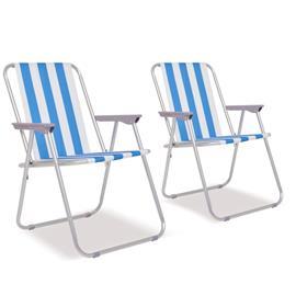 vidaXL Retkituolit 2 kpl Sininen ja valkoinen teräs 52x62x75 cm