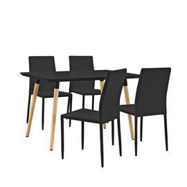 [en.casa]® Design ruokailupöytä - 120 x 70 cm + 4 tekonahkaa tuolia - musta