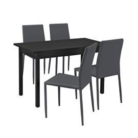 [en.casa]® Moderni ruokailuryhmä - (120 x 60 cm) pöytä + 4 tekonahkaa tuolia - harmaa